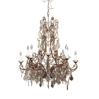 Large Italian Bead and Crystal Chandelier For Sale