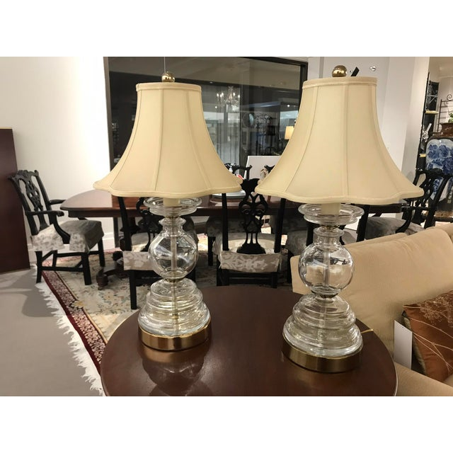2010s Glass Circular Stacked Lamps With Metal Base - a Pair For Sale - Image 5 of 5