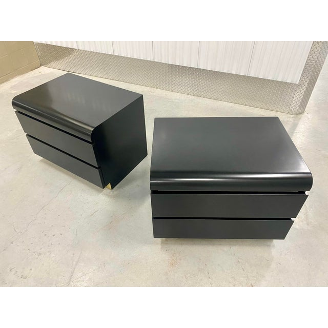Karl Springer Restored Black Lacquered & Brass Side Tables - a Pair For Sale - Image 4 of 8
