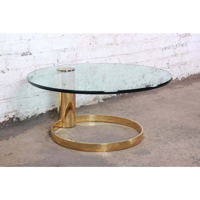 Leon Rosen for Pace Collection Cantilevered Brass and Glass Coffee Table For Sale - Image 9 of 9