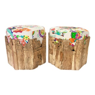 Contemporary Octagon Carved Wood & Belgian Linen Ottomans - A Pair