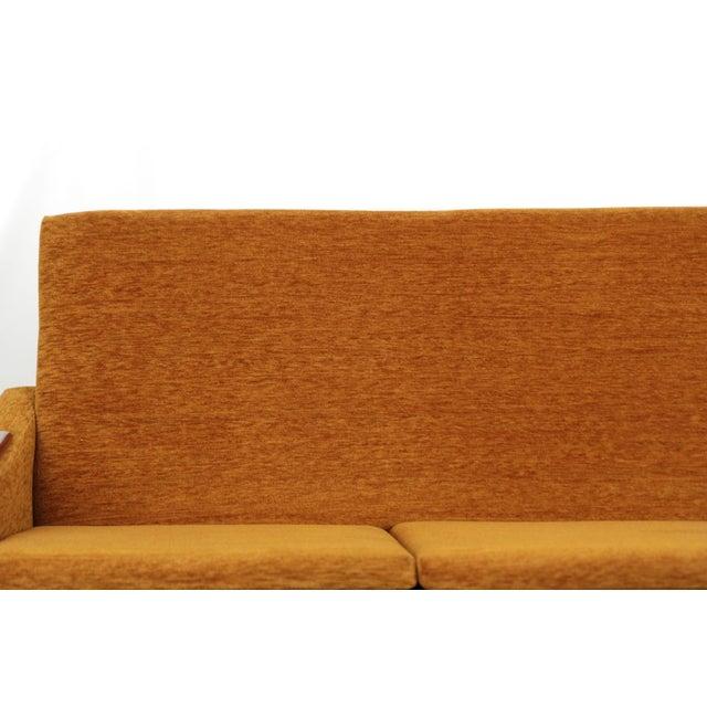 Scandinavian Mid Century Modern Orange Sculpted Walnut Sofa circa 1960s - Image 7 of 11