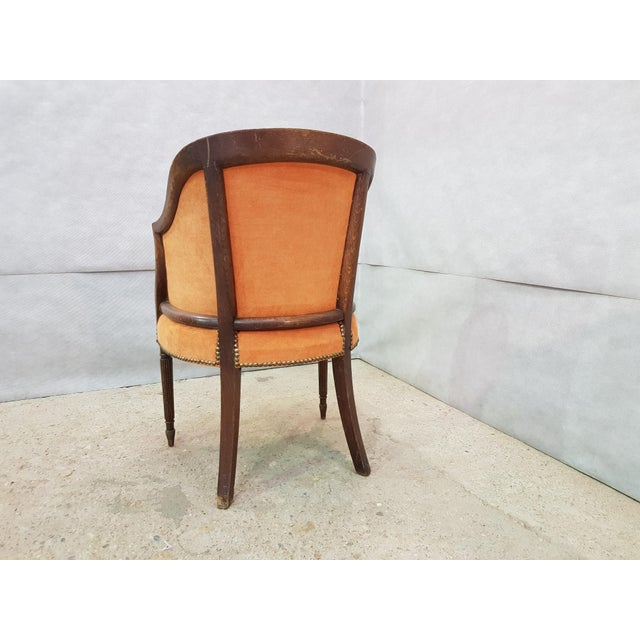 French Antique 19th Century Louis XVI Style Barrel Back Oak Bergère Neoclassical Armchair For Sale - Image 12 of 13