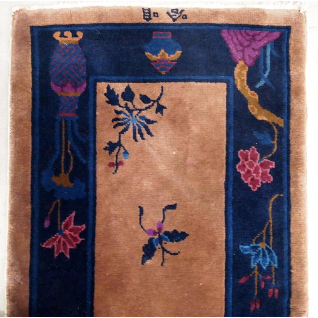 1920s Handmade Antique Art Deco Chinese Rug 2.2' X 6.7' For Sale In New York - Image 6 of 9