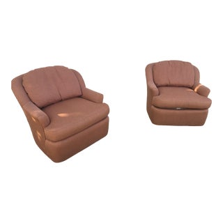 1990s Vintage Swivel Blush Chairs - A Pair For Sale