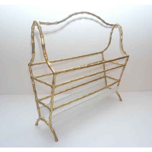 Hollywood Regency Hollywood-Regency Style, Faux-Bamboo Magazine Stand, Bronze and Enameled Metal For Sale - Image 3 of 10