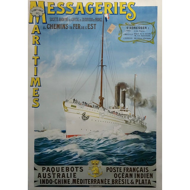 1900 - 1909 Abel Brun -Messageries Maritimes-Original 1907 Steam Boat French Poster For Sale - Image 5 of 10