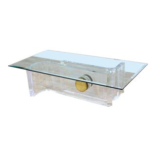 Large Rectangular Glass Top Thick Lucite and Brass Base Coffee Table For Sale