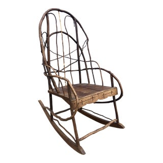 Antique Adirondack Twig & Oak Rocking Chair For Sale