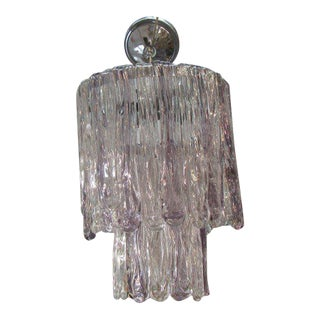 Petite Lavender & Clear Glass Murano Chandelier For Sale