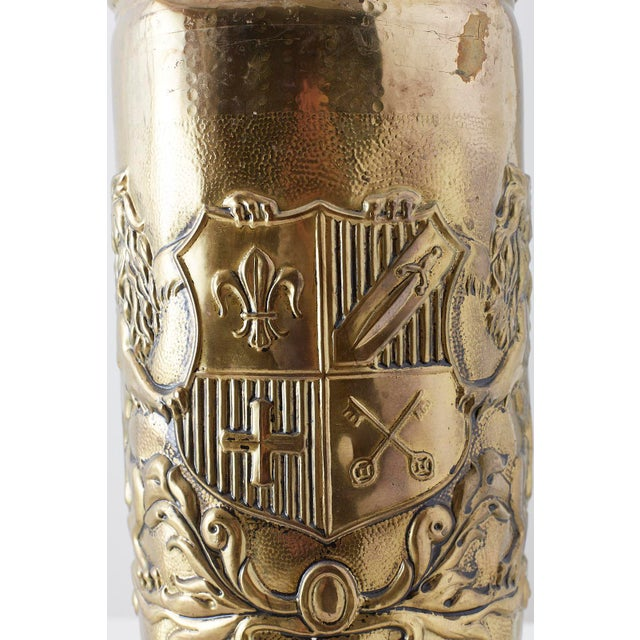 Brass Coat of Arms Umbrella Stand Holder For Sale - Image 4 of 11