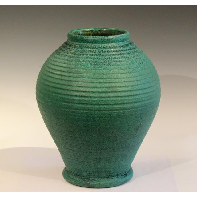 Arts & Crafts Large Merrimac Pottery Vase Antique Matt Green American Arts & Crafts For Sale - Image 3 of 10