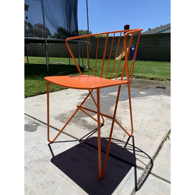 Fermob Flower (7101) Carrot Patio Chairs. Solid steel sheet seat Steel tube and rod base and backrest. Armchair without...