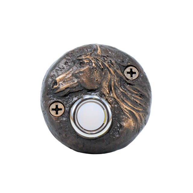 Round Horse Doorbell, Traditional Patina For Sale