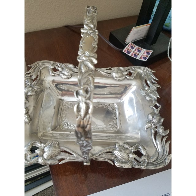Antique Silverplated Biscuit Basket For Sale - Image 4 of 6