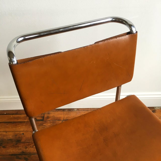Animal Skin Vintage Oiled Leather & Chrome Cantilever Chairs by Nicos Zographos - Set of 4 For Sale - Image 7 of 9