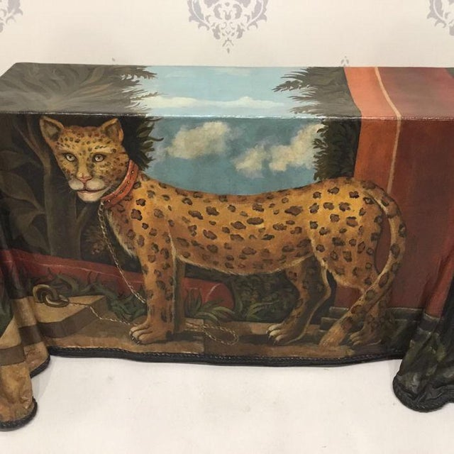 1980s Realism Draped Leopard Painting Console Table For Sale - Image 4 of 11