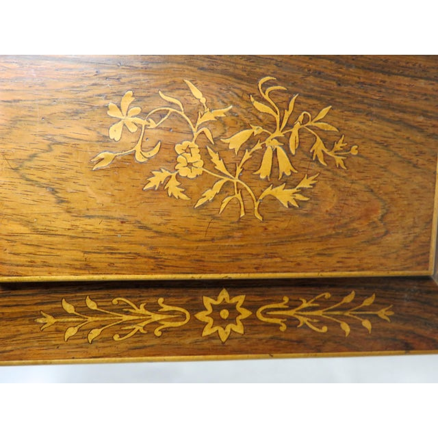 Cinnamon 19th Century Victorian Rosewood Marquetry Sewing Box For Sale - Image 8 of 13