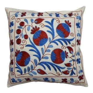 Blue Red Pomegranate Design Crochet Cushion For Sale