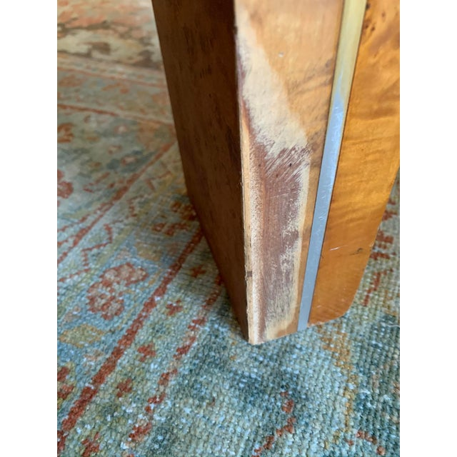 1970s Vintage Burlwood and Glass Dining Table For Sale - Image 10 of 13