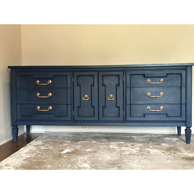 Hollywood Regency Vintage Blue Painted Credenza For Sale - Image 3 of 5