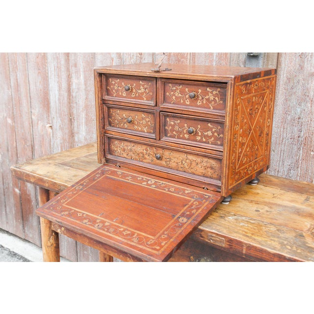 Spanish Vine Motif Wood Inlay Bargueno For Sale - Image 9 of 13