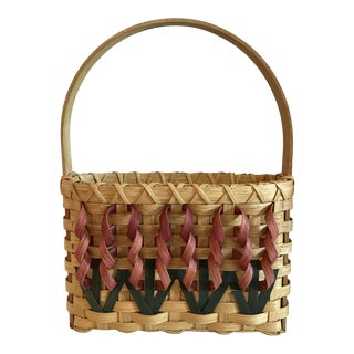 20th Century Boho Chic Woven Flower Basket For Sale