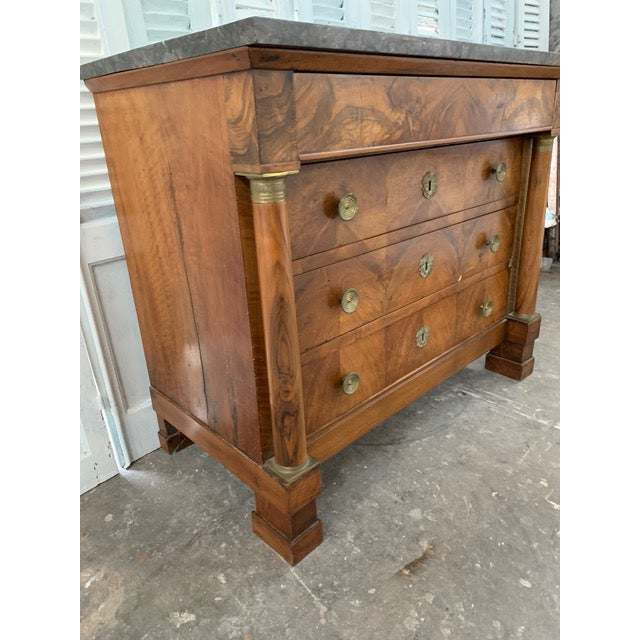 French Provincial 19th Century French Louis Philippe Bookmatched Commode With Original Marble Top For Sale - Image 3 of 7