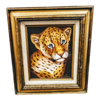 Vintage Tiger Cub Palm Beach Regency Oil Tiger Painting in Gold Frame For Sale