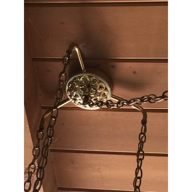 Mid-Century Triple Pendant Brass Chandelier - Image 3 of 5