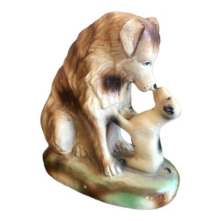 Vintage Ceramic Dog and Puppy For Sale