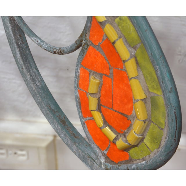 Unique Painted Iron and Inlaid Ceramic Mosaic Butterfly Chairs - a Pair For Sale - Image 11 of 13