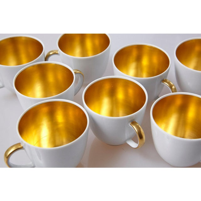 Set of 10 White and Gold Fürstenberg Porcelain Demitasse Cups & Saucers, Germany For Sale - Image 10 of 13