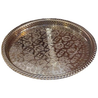 Moroccan Handmade Serving Tray, Silver Finish For Sale