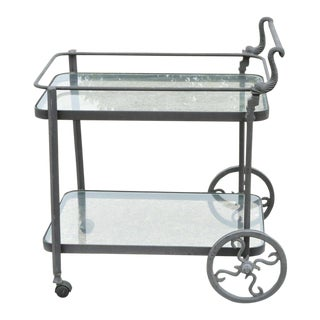 Cast Aluminum 2 Tier Rolling Bar Tea Cart Server Table With Fish Dolphin Handle For Sale