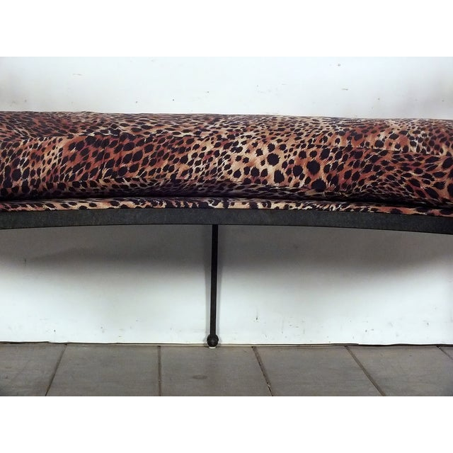 Hammered Iron Upholstered Curved Bench Leopard - Image 5 of 10