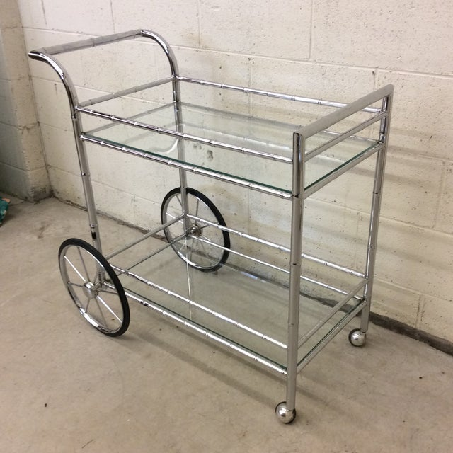Mid-Century Modern Italian Style Faux Bamboo Chrome Bar Cart For Sale - Image 3 of 10
