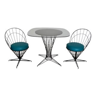 Mid-Century Modern Cone Wire Patio Dining Set For Sale