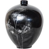 Image of Black Lacquered Ceramic Vase For Sale