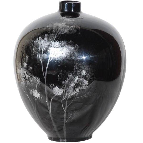 Black Lacquered Ceramic Vase For Sale