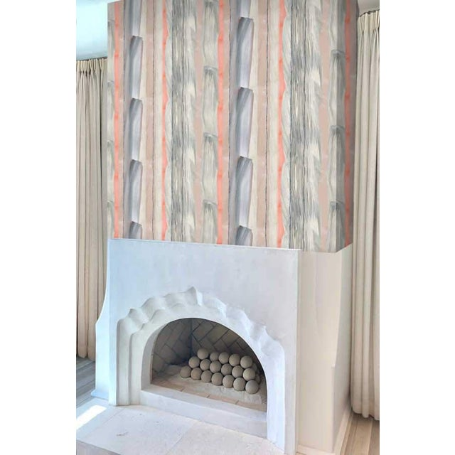 Paper Peach Marble Stripe Wallpaper For Sale - Image 7 of 10
