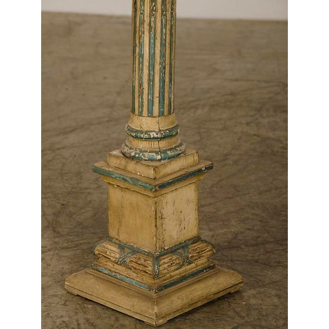 White 19th Century Italian Neoclassical Carved Wooden Original Painted Finish Candle Stand For Sale - Image 8 of 8