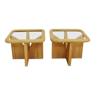Gabriella Crespi Style Split Reed Rattan Bamboo End/Side Tables - A Pair For Sale