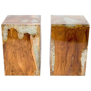 Pair of Organic Modern Bleached Teak Wood and Resin Side Tables, Indonesia For Sale