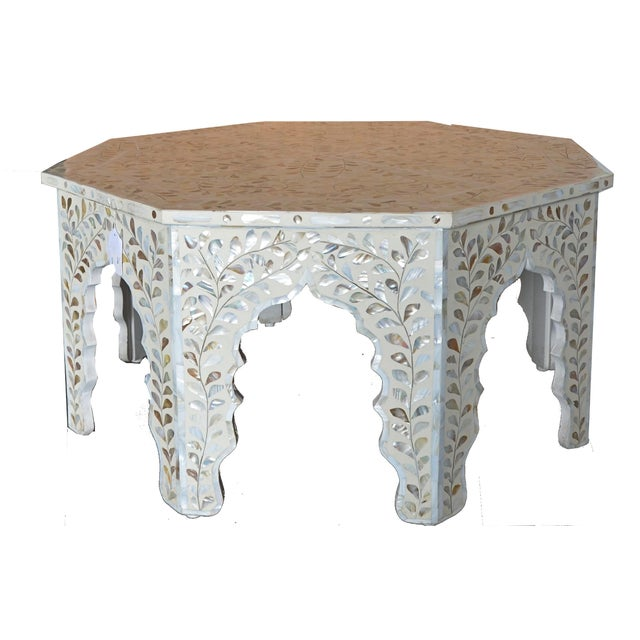 Moroccan Mother of Pear and White Octagonal Coffee Table For Sale - Image 10 of 10