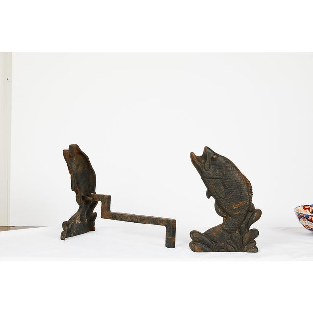 Pair of Antique American Cast Iron Leaping Fish Andirons For Sale In Atlanta - Image 6 of 9