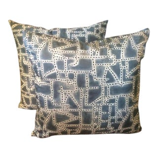 "Donghia ""Prickly Pear"" Indigo-Printed Hand Stitched Pillows - A Pair"