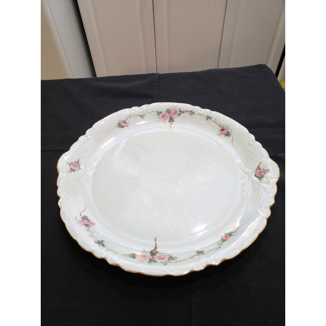 Gorgeous Bavarian Irridecent platter with rose petals and gold trim. Made in the 1950s in the style of Art Nouveau
