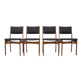 Danish Teak Dining Chairs With Black Maharam Wool Upholstery - Set of 4 For Sale