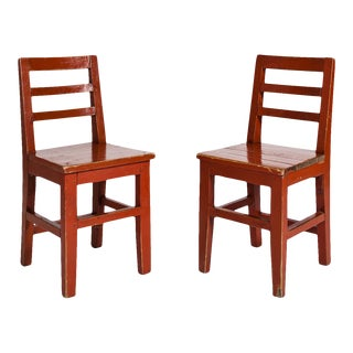 Vintage Chinese School Chairs - a Pair For Sale